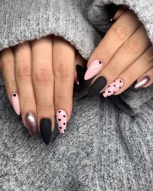 Black Hearts And Pink Nail Ideas For Women