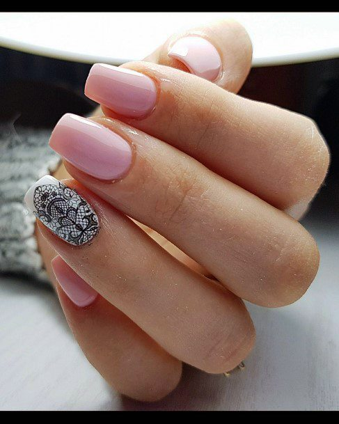 Black Intricate Design Accent Pink Shellac Nails For Women