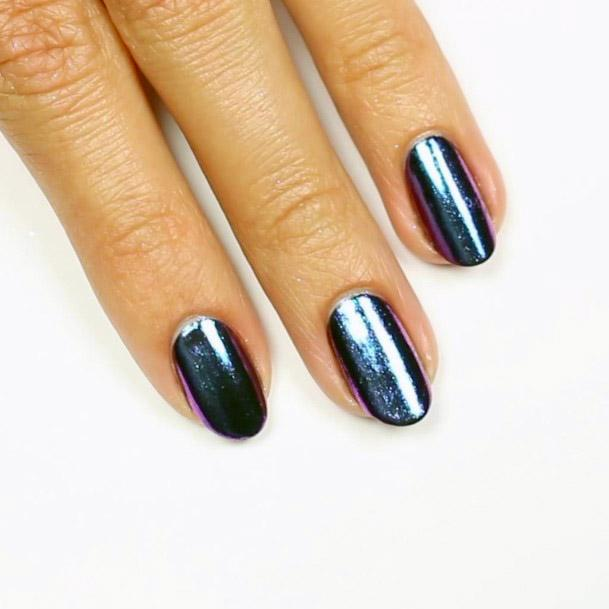 Black Iridescent Nails Women