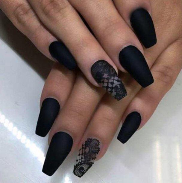 Black Lace Design Nails For Women