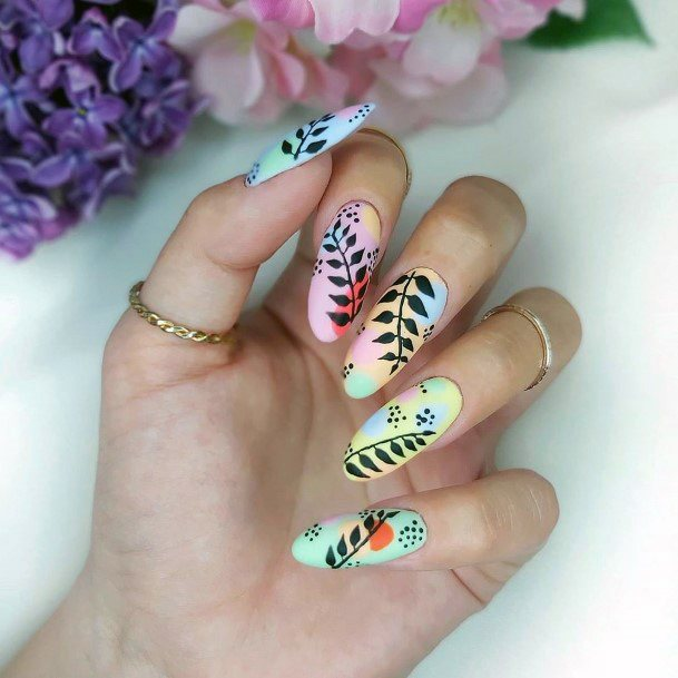 Black Leaf Art On Colorful Nails Idea For Women
