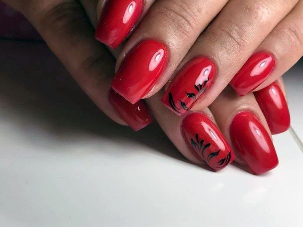 Black Leaf On Bright Red Nails For Women