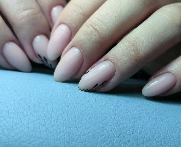 Black Leaves On Nude Nails For Women