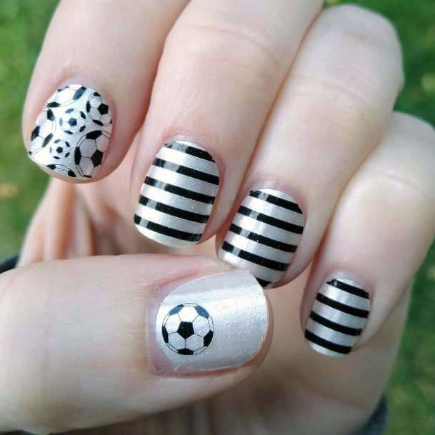 Black Lines And Ball Sport Nails White For Women