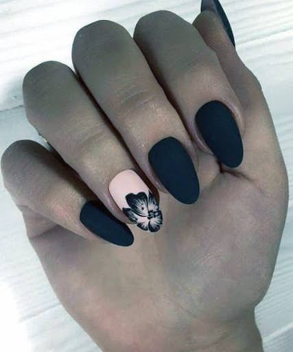 Black Matte Nails With Pink Orchid