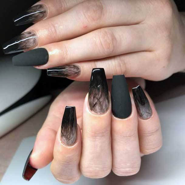 Black Matte Nails With Smoky Effect