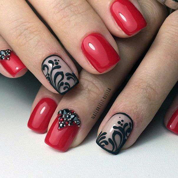 Black Middle Eastern Design Bright Red Nails For Women