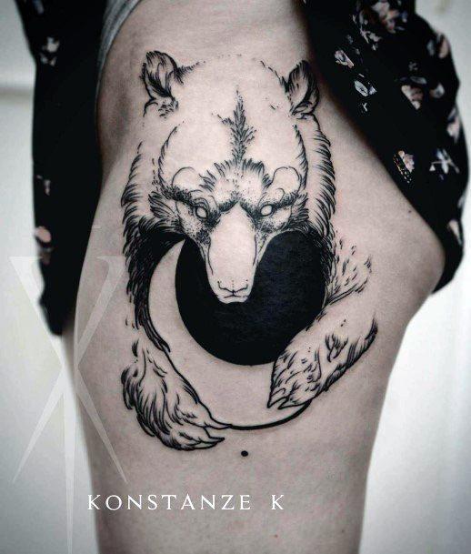 Black Moon And Bear Tattoo Womens Thighs
