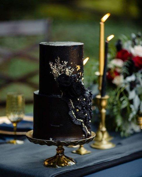 Black Mystical 2 Tier Wedding Cake