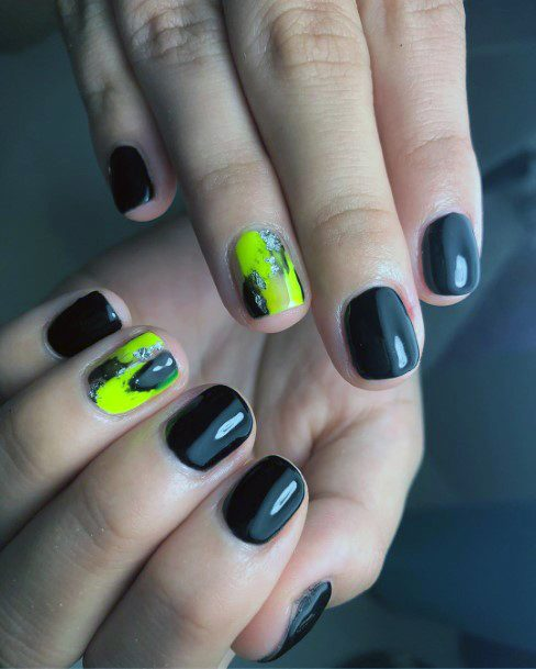 Black Nails And Neon Yellow Accent Shellac Art For Women