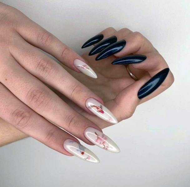 Black Nails And White Floral Pattern Nails Women