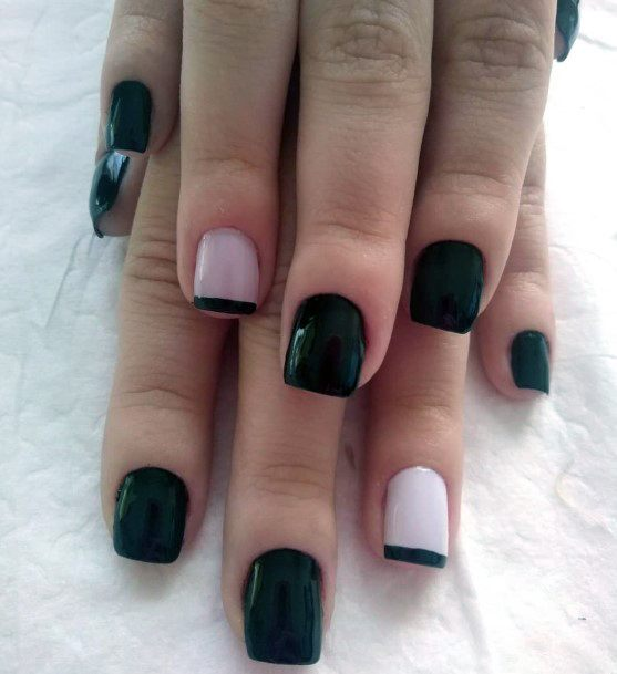 Black Nails With White Accent Women Art