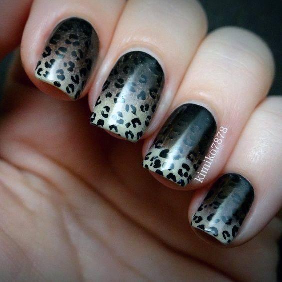 Black Ombre Leopard Nails Women