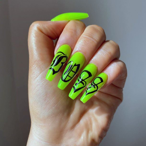 Black Oriental Characters On Neon Green Nails
