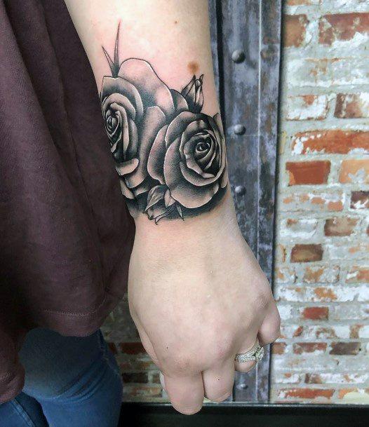 Black Shaded Roses Tattoo Womens Wrists