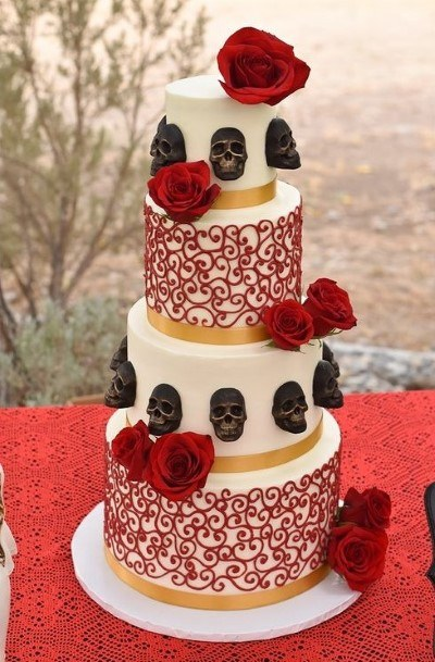Black Skulls And Red Roses Halloween Wedding Cakes