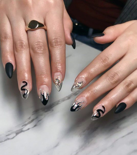 Black Snake And Crystals Nail Art