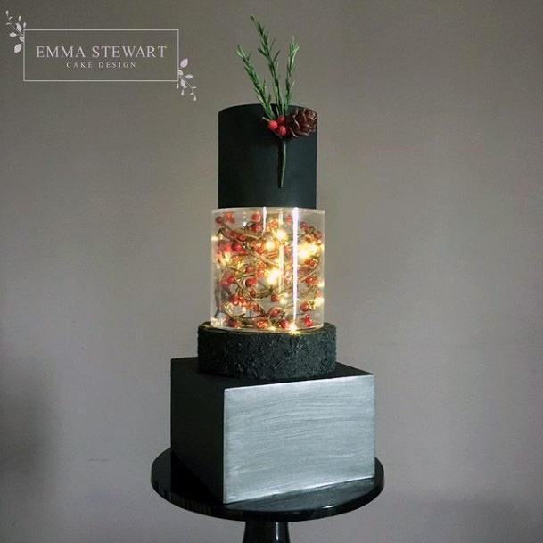 Black Square Wedding Cake With Transparent Layer