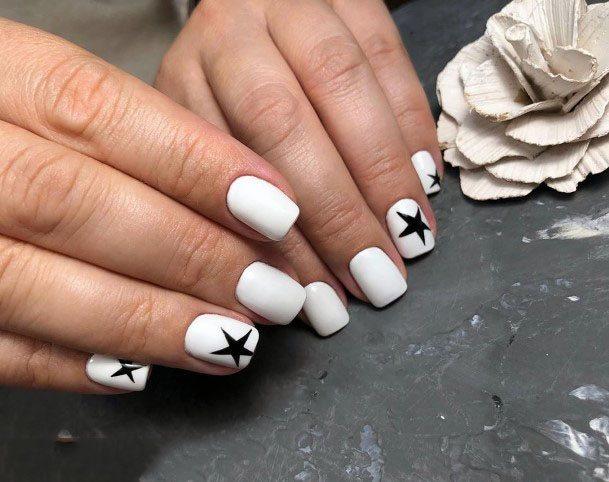 Black Stars On White Gel Nails Women