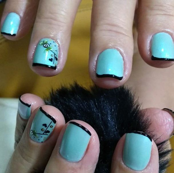 Black Tipped Turquoise Charming Nails Women