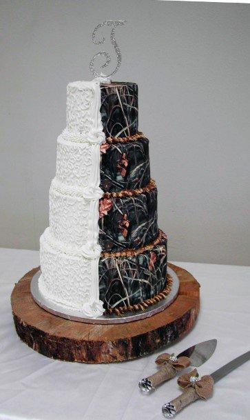 Black White Camo Wedding Cakes