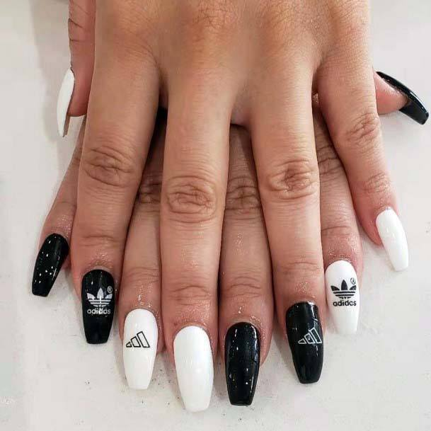 Black White Polish Sport Nails For Women