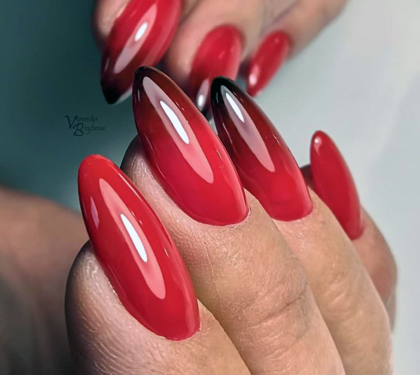 Blackish Tip Bright Red Nails For Women
