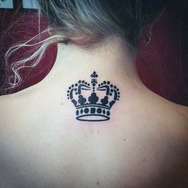 Blazing Black Crown Tattoo Womens Back