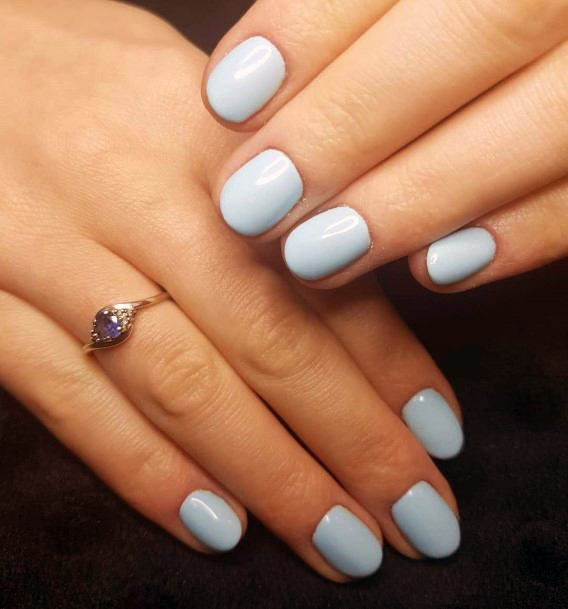 Bleached Blue Bright Nails For Women