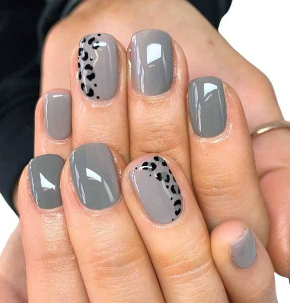 Bleached Grey Nails With Black Animal Print