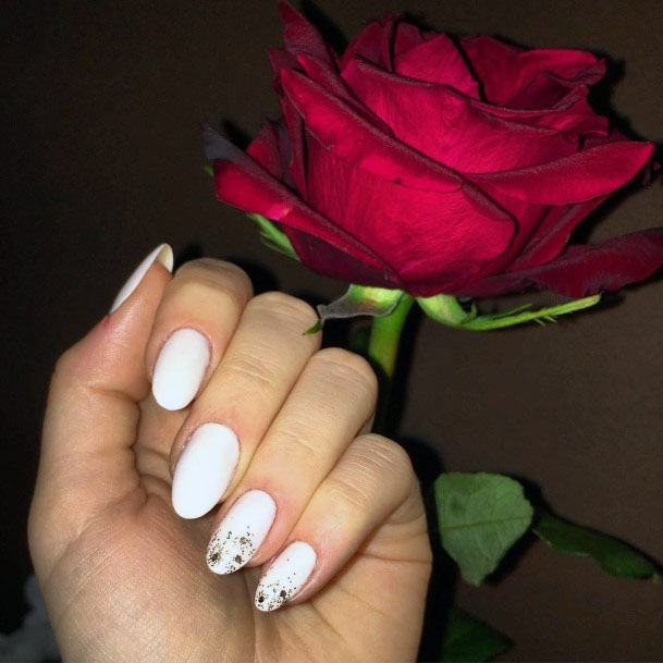 Bleached White Gel Nails With Golden Glitter Women