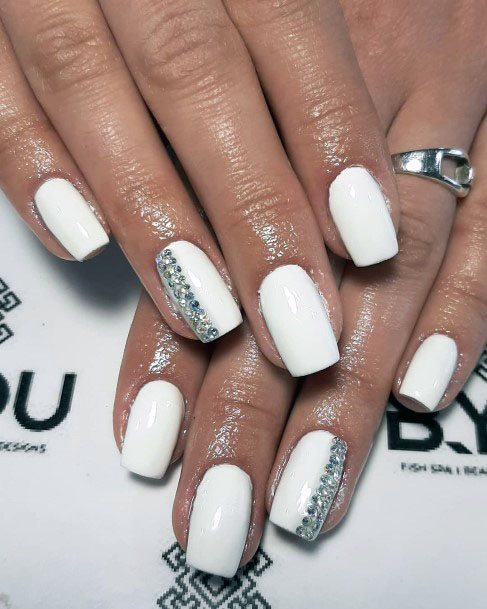 Bleached White Gel Nails With Haf Grey Design Women