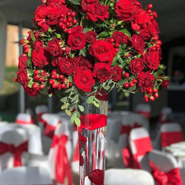 Bleeding Red Wedding Flowers Bouquet