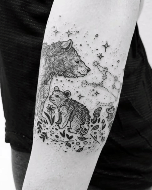 Blessed Starry Family Of Bears Tattoo For Women