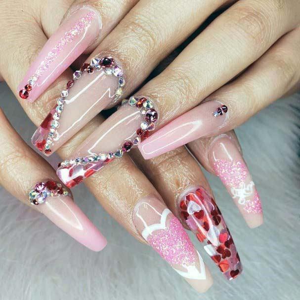 Bling Stones Red And Pink Nails For Women