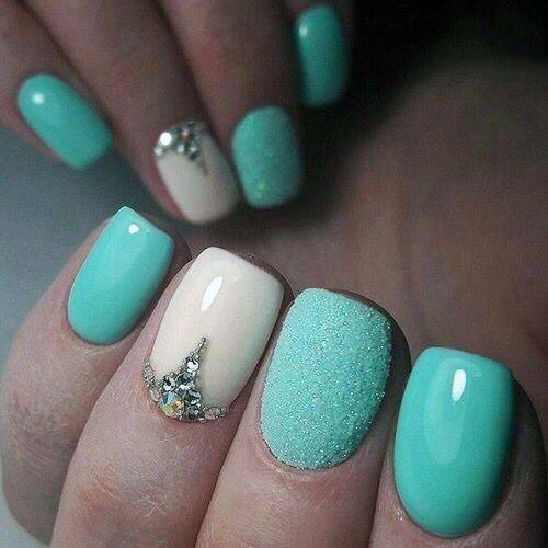 Bling Sugared Sea Green Nails Women