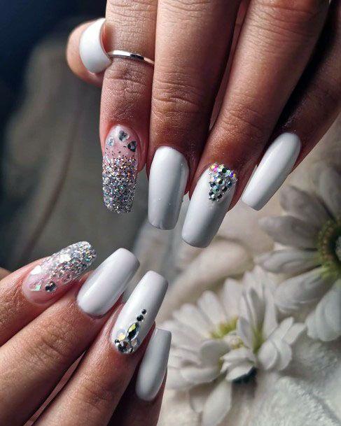 Bling White Gel Nail For Women