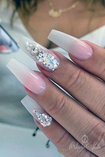 Bling White Ombre Nails Women
