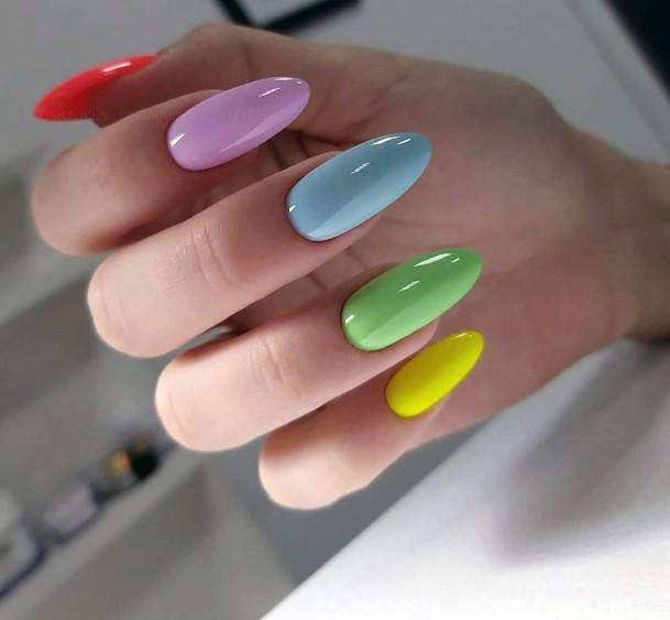 Blocked Colors Shellac Nails Art For Women