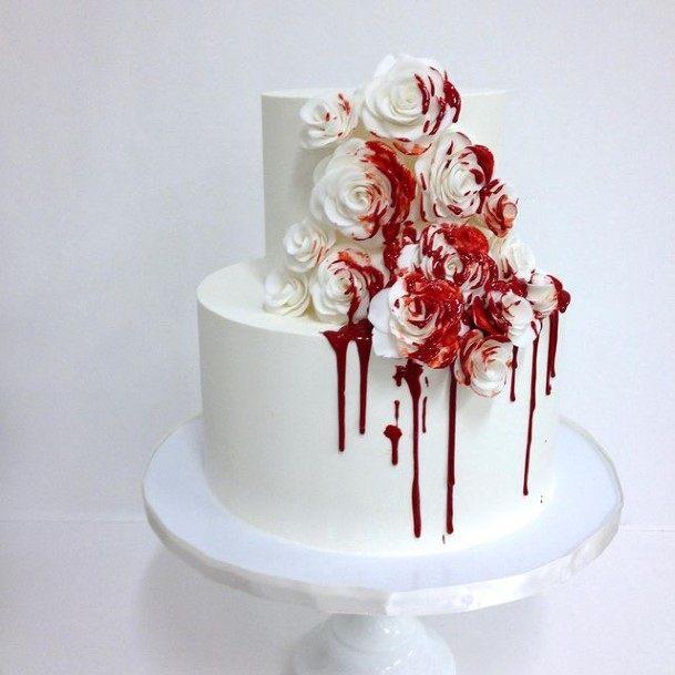 Bloody Flowers Halloween Wedding Cakes