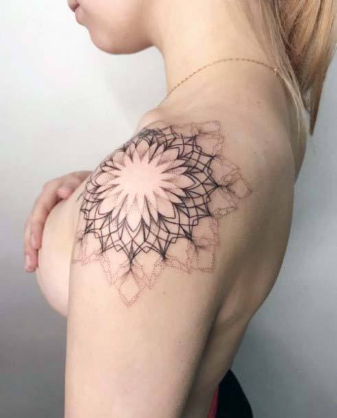 Blooming Flower Tattoo With Geometric Lines Womens Shoulders