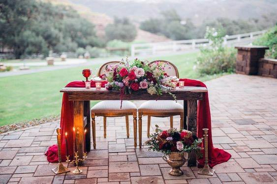 Blossom Filled Red Wedding Flowers Table Sweet Heart