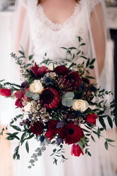 Blossom Filled Red Wedding Flowers
