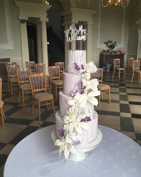 Blossoming Purple Cake Wedding