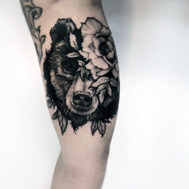 Blossoms And Bear Tattoo For Women