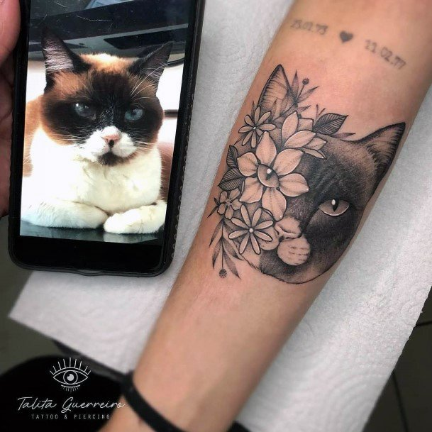 Blossoms And Cat Tattoo For Women