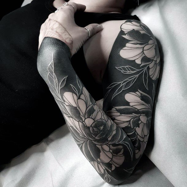 Blossoms Black And White Ink Tattoo Women