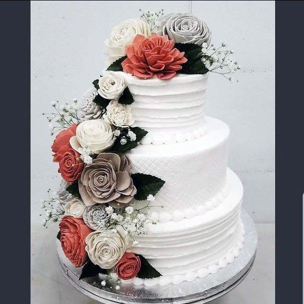 Blossoms On 3 Tier Wedding Cake Women
