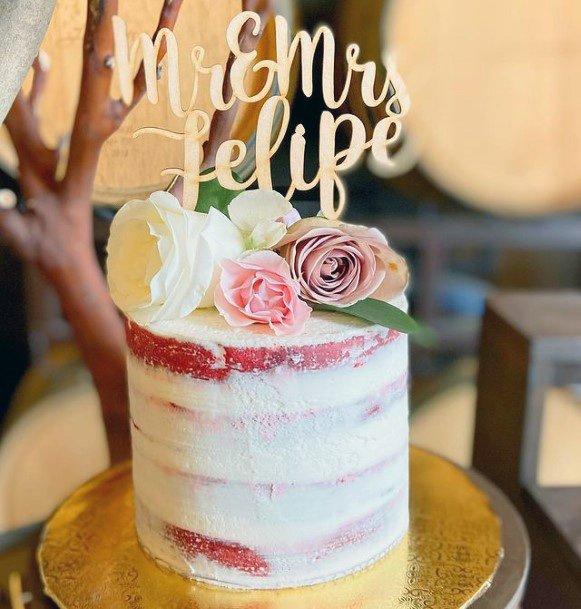 Blossoms On Red Velvet Wedding Cake