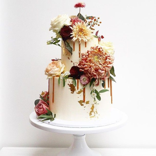 Blossoms On White 2 Tier Wedding Cake Dripping Caramel
